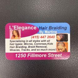 L'Elegance Hair Braiding, 1250 Fillmore St., San Francisco, CA, 94115