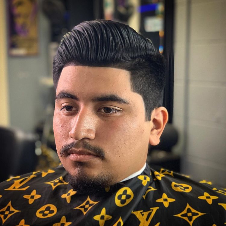 GENTLEMENS~HAIRCUT  COMB~OVER HAIR~STYLED HAIREVOLUTION~GEL SQUARE~SIDE~BURNS #2~ON~SIDE