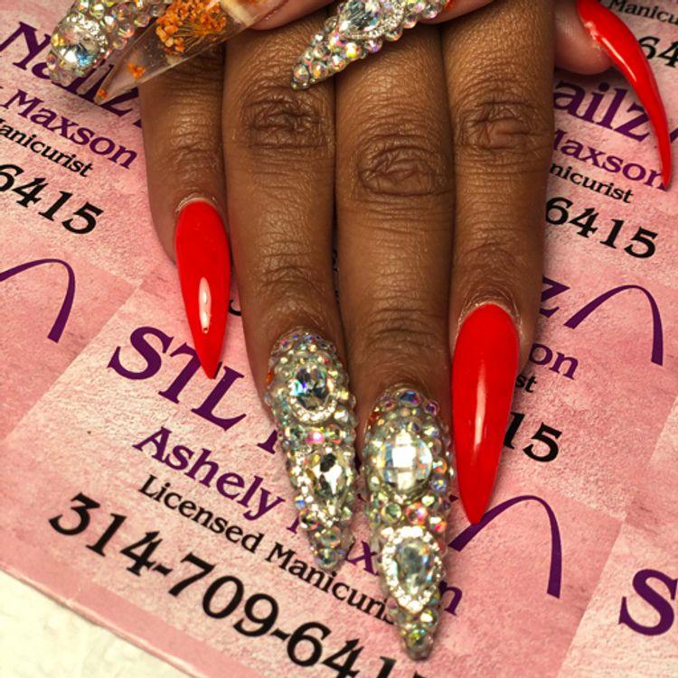 Ex-Long nail, full bling nail and gel polish