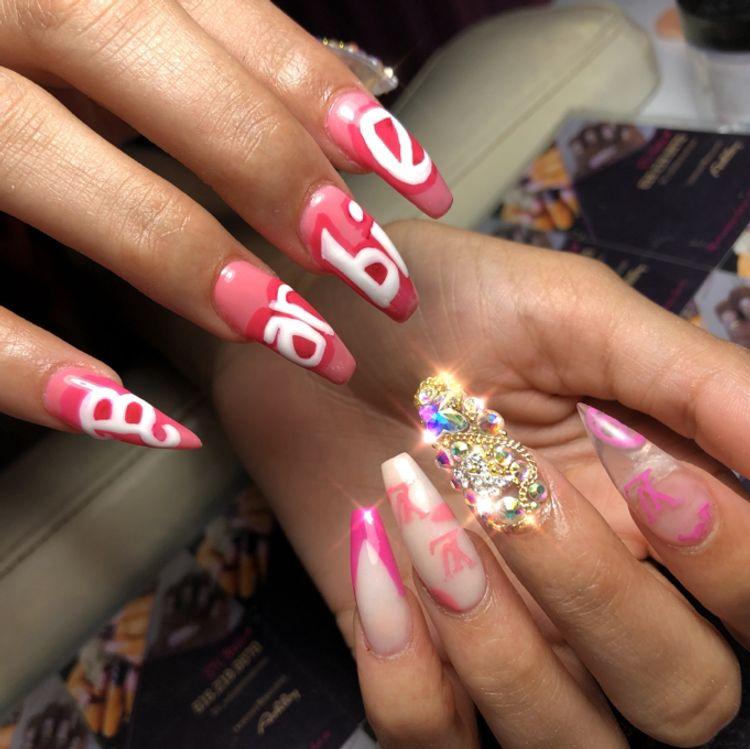 Custom hand drawn design, junk nail, gel polish design and colored Acrylic design