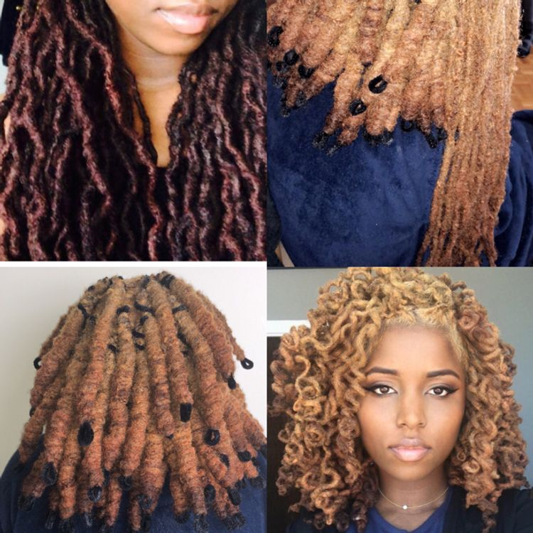 Before|| Custom Colored || Being Set on Pipe Cleaners || After! Goldie Locs