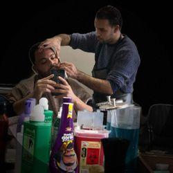 Red barber at gentleman's barber lounge, 878 Bush St, San Francisco, 94108