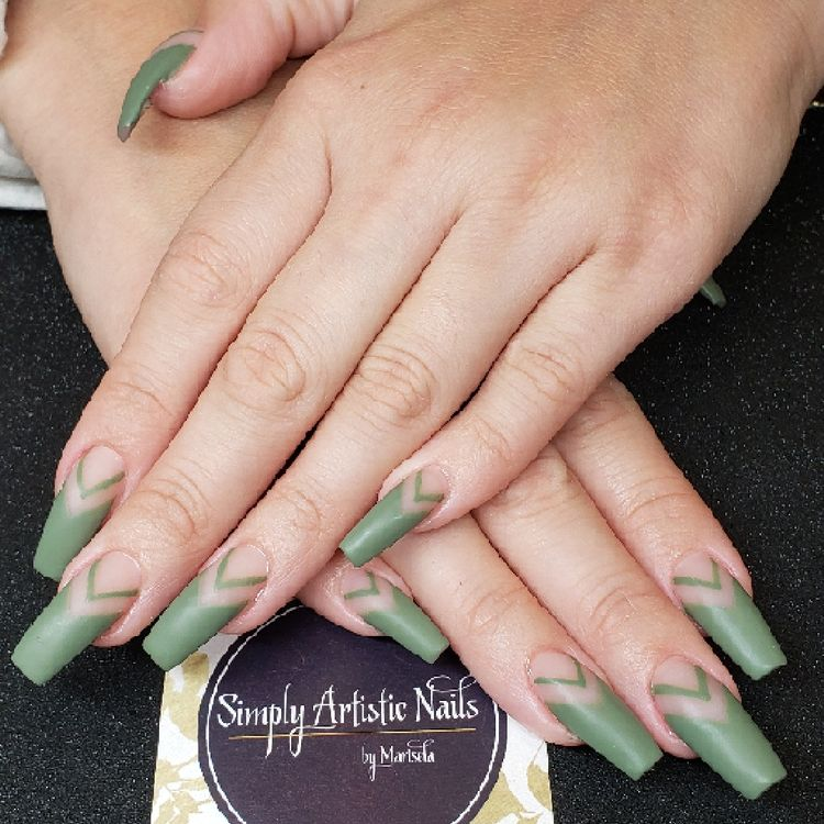 Acrylic long wide coffin Chevron French in army green matte finish $70 new set
