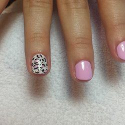 Pink & White Nails