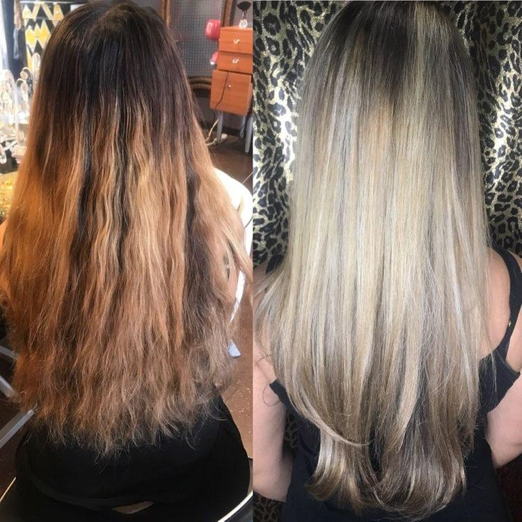 Before and after balayage Hair by Jill Hegarty