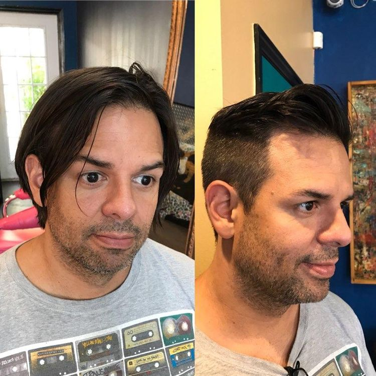 Before and after men's cut by Jill Hegarty