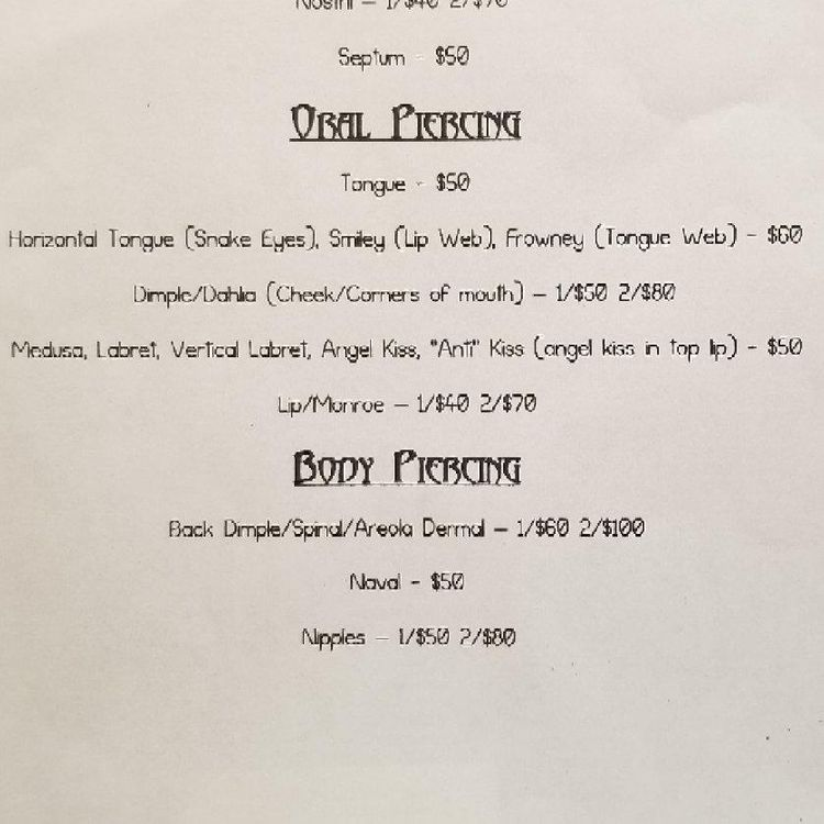 Oral/ Tongue piercing prices