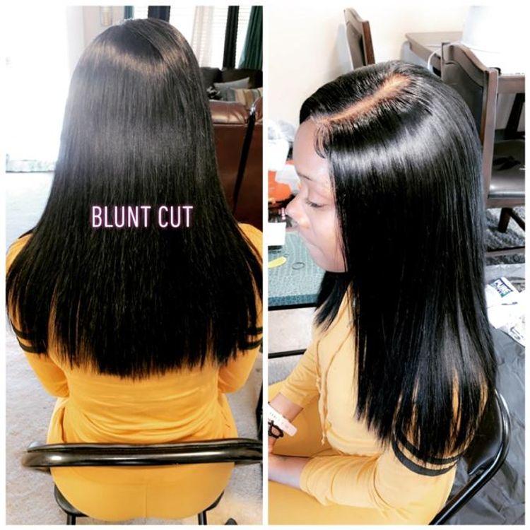 Closure install w/ blunt cut