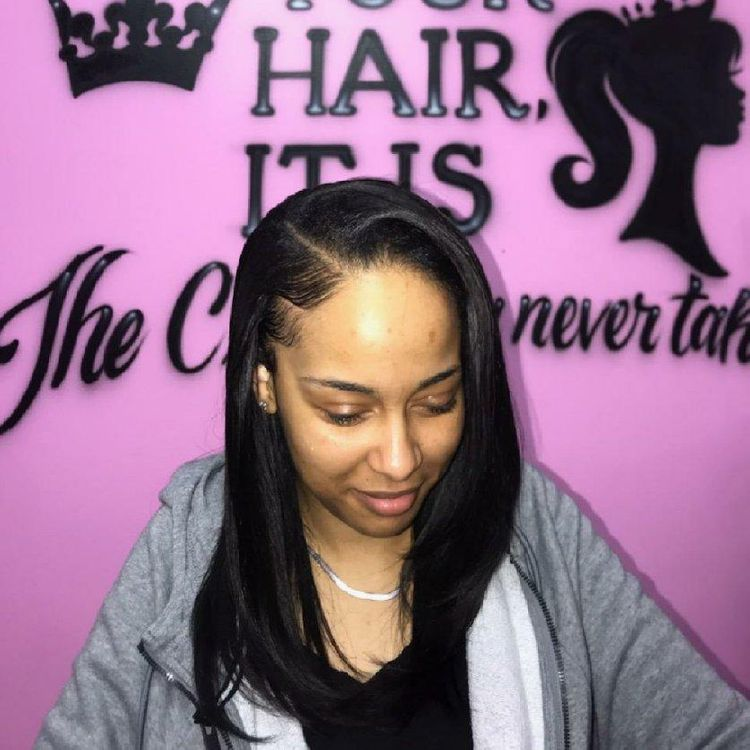 Side part leave out sew-in