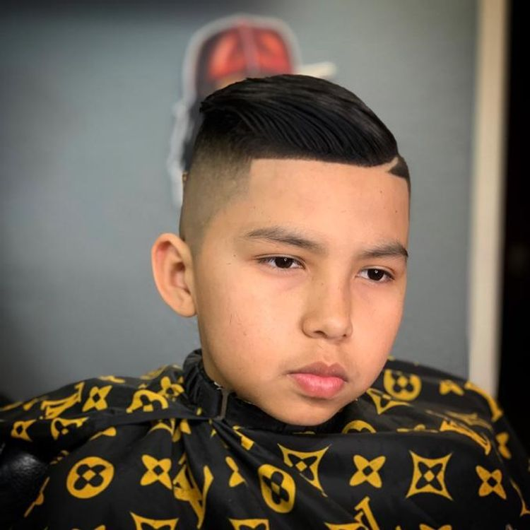 Comb~Over High Fade, Side Part
