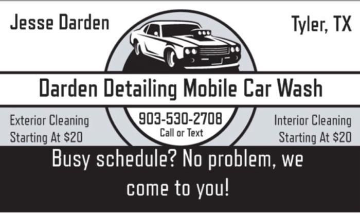 Darden Detailing Mobile Car Wash Tyler Tx Pricing