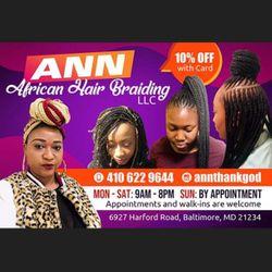Ann African Hair Braiding, 6919 harford rd, Parkville, 21234