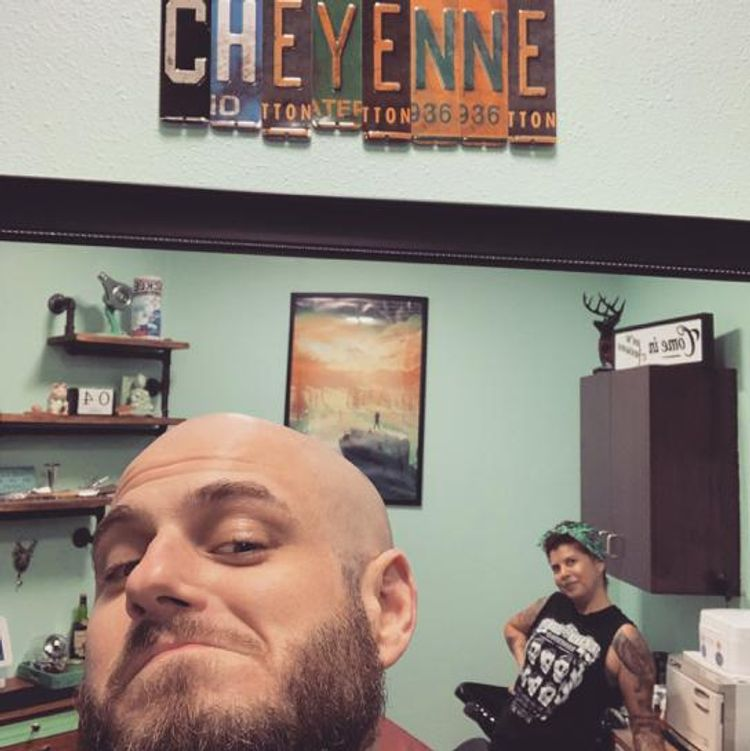 When your melon & beard are on point. #blackstagbarbershop #cheyennethebarber #headshave #beardtrim