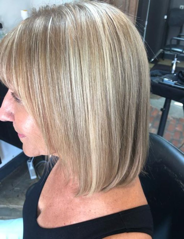 b'Partial blonde highligh & toner.  Global Keratin service as well, for smoothness .'