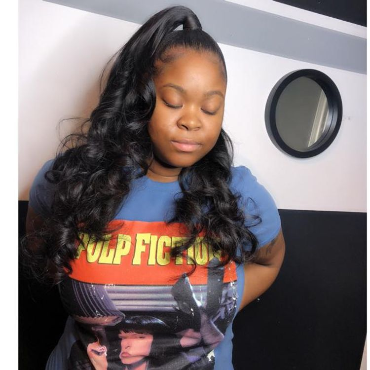 Sew in half up, half down with curls!