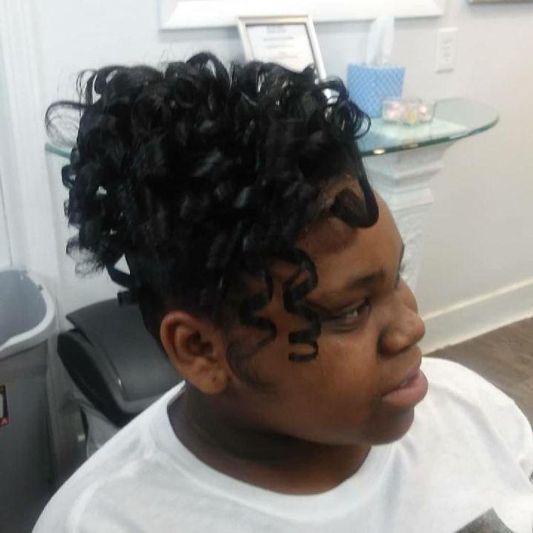 b'Silk press & curls'