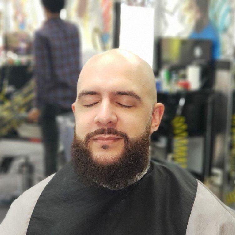 Men's bald cu, beard trim and treatment... hair cut by @pennythelastking