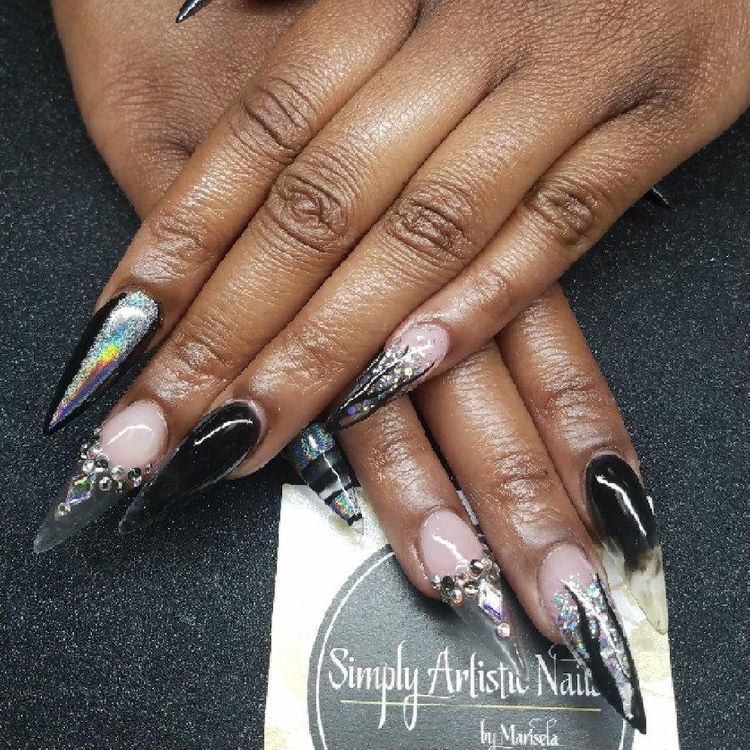 Sculpted stiletto set, holographic, glitter, smoke effect