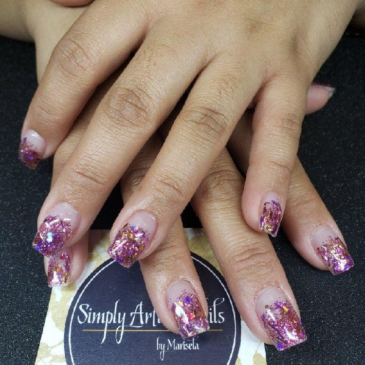 Sculpted square, encapsulated glitter ombre $60