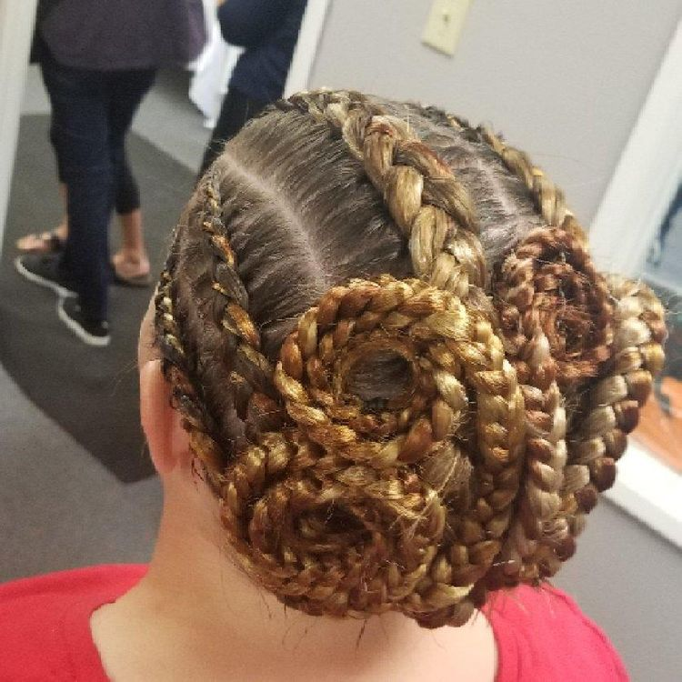 Artsy braid design on A line cut hair